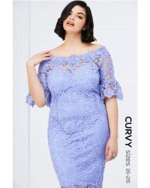 Paper Dolls Curvy Blue Bardot Dress  size: 18 UK, colour: Blue