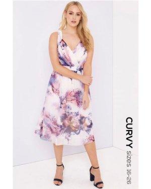 Little Mistress Curvy Floral Midi Dress size: 20 UK, colour: Multi