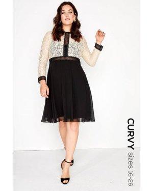 Little Mistress Curvy Cream Lace Dress size: 22 UK, colour: Black / Be