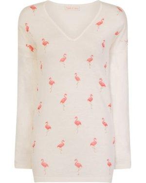 Cream Flamingo Jumper  size: ONE SIZE, colour: Cream