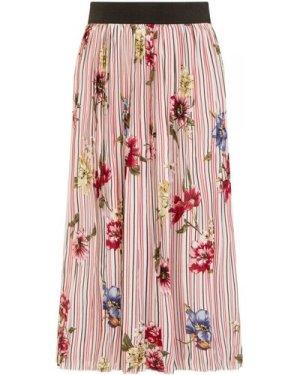 Primavera Floral Stripe Skirt size: M, colour: Pink Print
