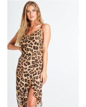 Wilderness Cowl Neck Dress In Leopard size: 8 UK, colour: Leopard Prin