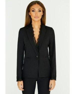 Studio Mouthy Black Lace Trim Blazer  size: 14 UK, colour: Black