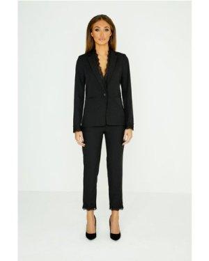 Studio Mouthy Black Lace Trim Trousers size: 16 UK, colour: Black