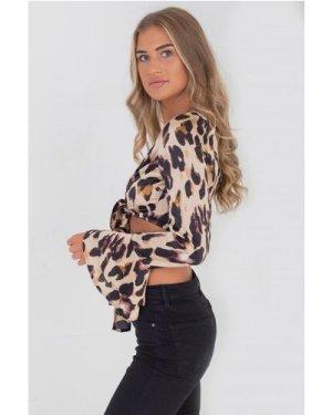Baia Tie Front Top In Leopard size: 8 UK, colour: Leopard Print