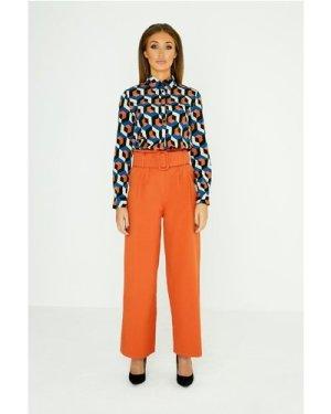 Studio Mouthy Burnt Orange Paperbag Trouser  size: 10 UK, colour: Burn
