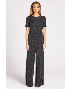 Studio Mouthy Black Lurex Trouser size: 16 UK, colour: Black Silver Lu