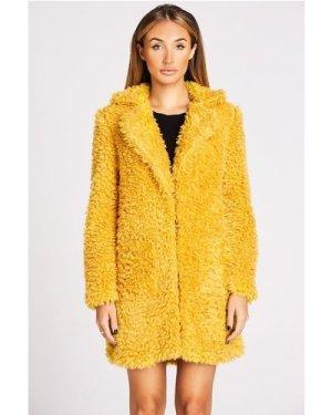 Studio Mouthy Fur Teddy Coat In Mustard size: 14 UK, colour: Mustard