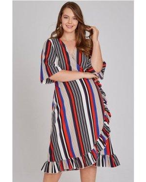 Girls On Film Curvy Cassis Frill Hem Wrap Dress In Stripe size: 18 UK,