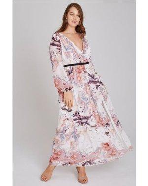 Little Mistress Curvy Lea Mock Wrap Maxi Dress In Marble size: 28 UK,