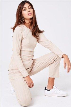 Libertine Oatmeal Ribbed Loungewear Set size: L, colour: Oatmeal
