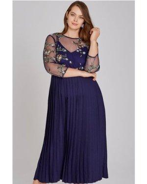 Little Mistress Curvy Maja Navy Floral Midaxi Pleat Dress size: 20 UK,