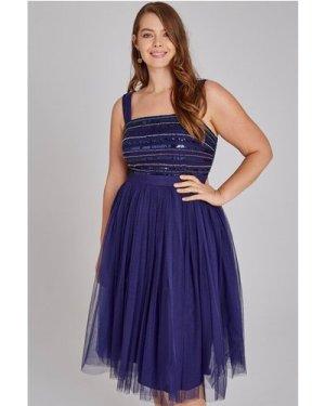Little Mistress Curvy Drew Navy Hand-Embellished Prom Dress size: 22 U