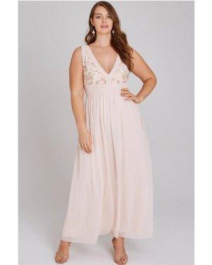 Little Mistress Curvy Cosette Nude Embroidery Maxi Dress size: 20 UK,