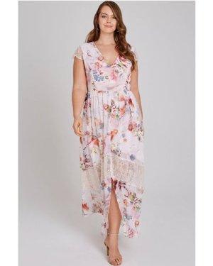 Little Mistress Curvy Nella Floral Maxi Dress With Lace size: 20 UK, c