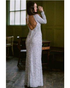 Rock n Roll Bride Pandora White and Silver Sequin Maxi Dress size: 8 U