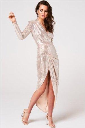 Divine Gold Sequin Midi Wrap Dress size: 14 UK, colour: Gold