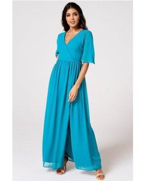 Rock n Roll Bride Iris Blue Jewel Mock Wrap Maxi Dress size: 18 UK, co