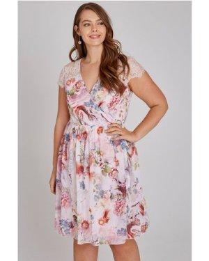 Little Mistress Curvy Nella Floral Tea Dress With Lace size: 26 UK, co