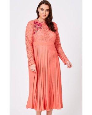 Little Mistress Curvy Casey Grapefruit Pleated Midaxi Dress size: 18 U