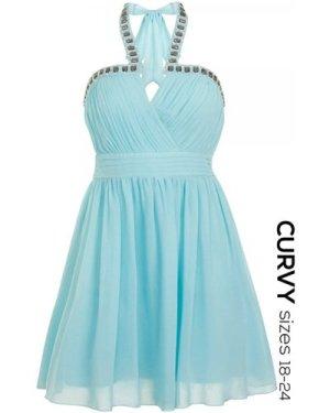 Little Mistress Curvy Soft Blue Embellished Halterneck Dress size: 24