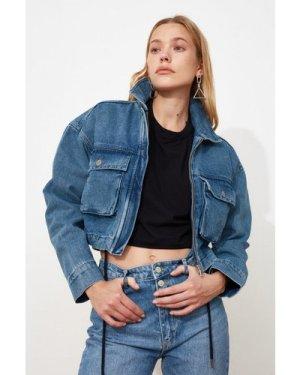 Trendyol Dark Blue Puffer Style Denim Jacket  size: S, colour: Dark Bl