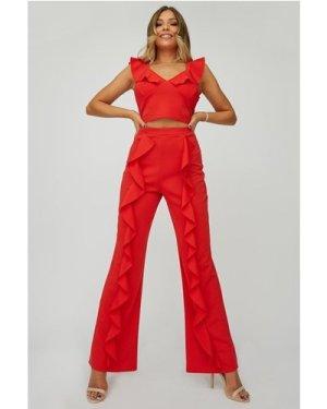 Little Mistress x Zara McDermott Red Frill Trousers Co-ord size: 10 UK