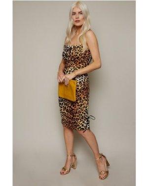 Little Mistress x Ashley James Leopard-Print Ruched Bodycon Dress size