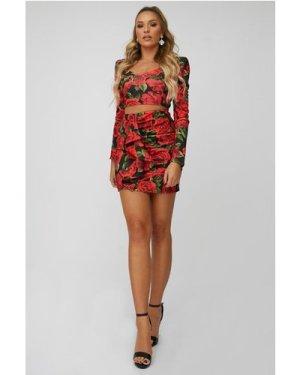Little Mistress x Zara McDermott Red Rose-Print Mini Skirt Co-ord size