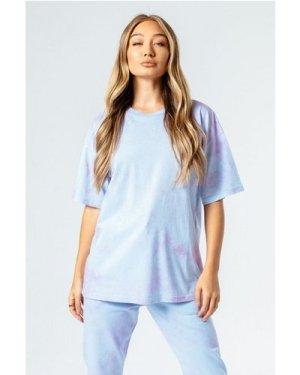 HYPE BLUE & PINK TIE DYE WOMEN'S OVERSIZED T-SHIRT size: 6 UK