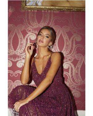 Little Mistress Michaela Plum Sequin Midi Dress size: 12 UK, colour: P