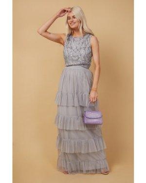 Little Mistress Ophelia Grey Tiered Frill Maxi Skirt Co-ord size: 10 U