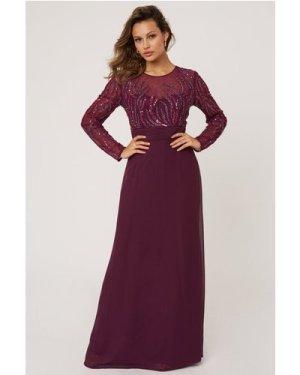 Little Mistress Georgie Plum Hand Embellished Maxi Dress size: 6 UK, c