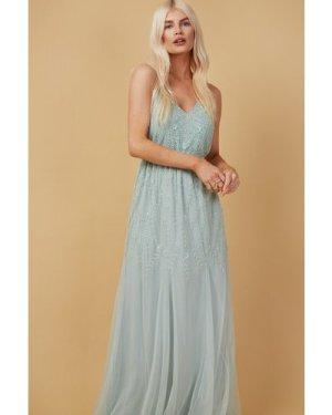 Little Mistress Bridesmaid Aida Mint Floral Embellished Maxi Dress siz