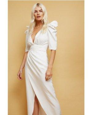 Little Mistress Zandra White Plunge Mock Wrap Midi Dress size: 16 UK,