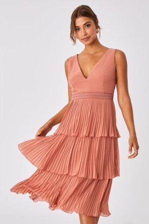 Little Mistress Ada Rose Gold Tiered Hem Midi Dress size: 8 UK, colour