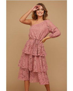 Little Mistress Folli Dusty Rose Lace Tiered Midi Dress size: 16 UK, c