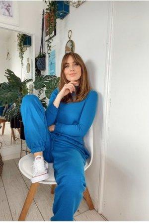 Little Mistress Blue Jogger Loungewear Co-ord size: L/XL, colour: Blue