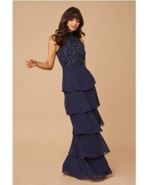 Little Mistress Bridesmaid Lila Navy Sequin Tiered Hem Maxi Dress size