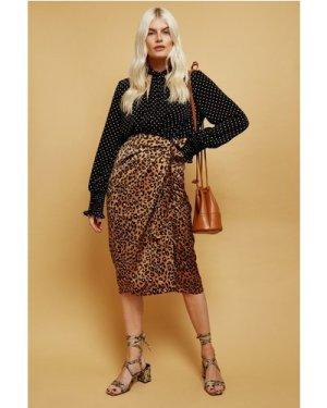 Little Mistress Ravi Leopard-Print Satin Wrap Midi Skirt size: 10 UK,