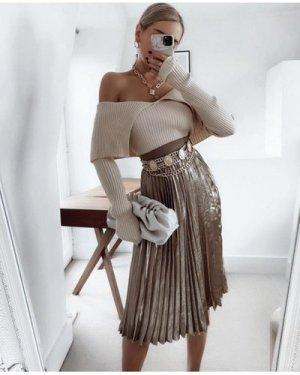 Little Mistress Prospect Metallic Gold Pleated Midi Skirt size: 8 UK,
