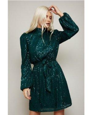 Little Mistress Arina Emerald Sequin High-Neck Mini Dress size: 14 UK,
