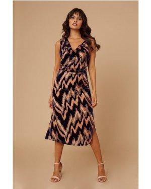 Little Mistress Joey Navy Velvet Burnout Cowl-Neck Midi Dress size: 14