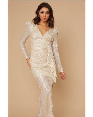 Little Mistress Baylor Champagne Sequin Frill Maxi Dress size: 10 UK,
