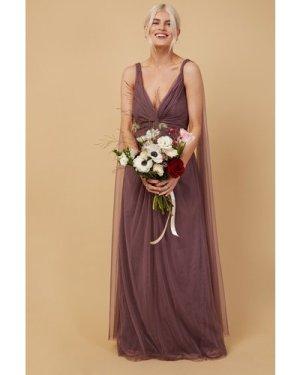 Little Mistress Bridesmaid Eden Mauve Knot-Front Maxi Dress size: 14 U