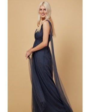 Little Mistress Bridesmaid Eden Gunmetal Knot-Front Maxi Dress size: 1