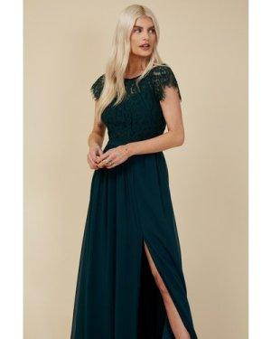 Little Mistress Bridesmaid Sonja Emerald Green Lace Maxi Dress size: 1