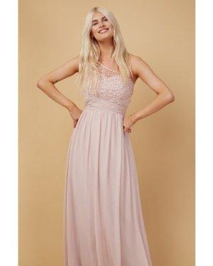 Little Mistress Bridesmaid Luanna Blush Embellished One-Shoulder Maxi