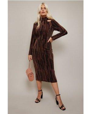 Little Mistress Lazar Copper Lurex Cut-Out Midi Dress size: 6 UK, colo