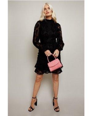 Little Mistress Alessia Black Velvet Lace Frill Mini Dress size: 8 UK,